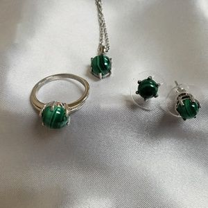 Jewelry - African Malachite Earrins, ring, necklace set